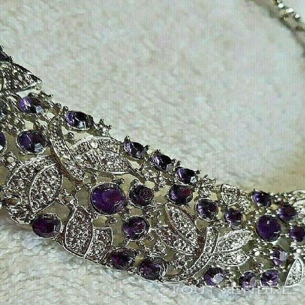 Parure complète collier boucles bracelet argent et violet