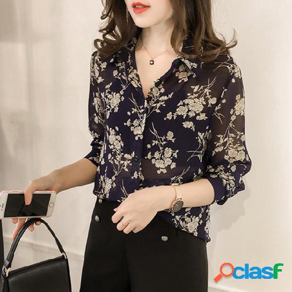 Chemise imprimée lâche temperament pour femme chemise à manches longues pour femme bottoming han fan shirt tide