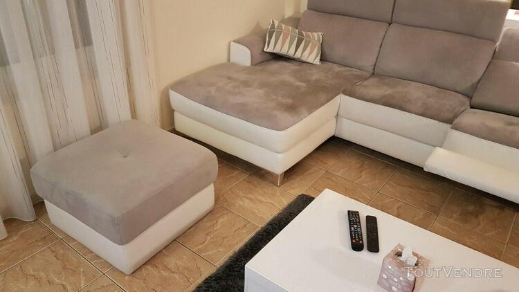 """Canapé 3 places cuir blanc et micro-fibre gris avec """"pouf"""""""