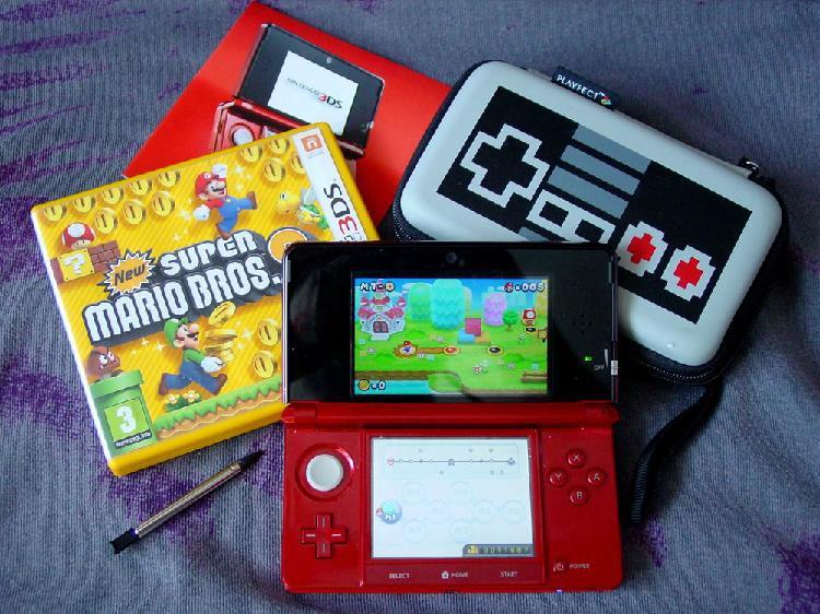 Console nintendo 3ds rouge métal + jeu super mario bros 2
