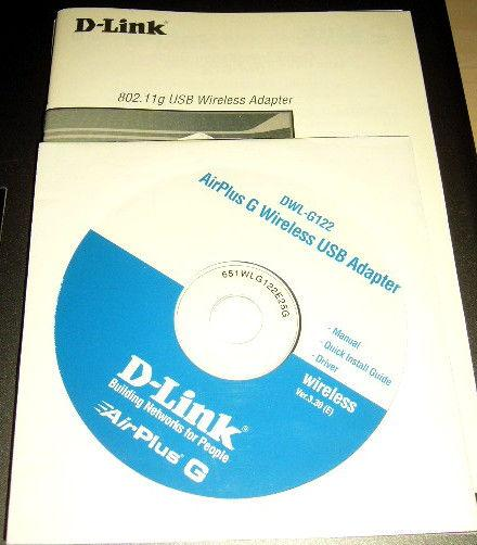 Cd install+notice d-link dwl g122 wireless usb occasion,