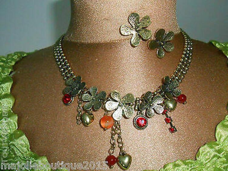 Parure collier + boucles + perles & strass coloris rouge or