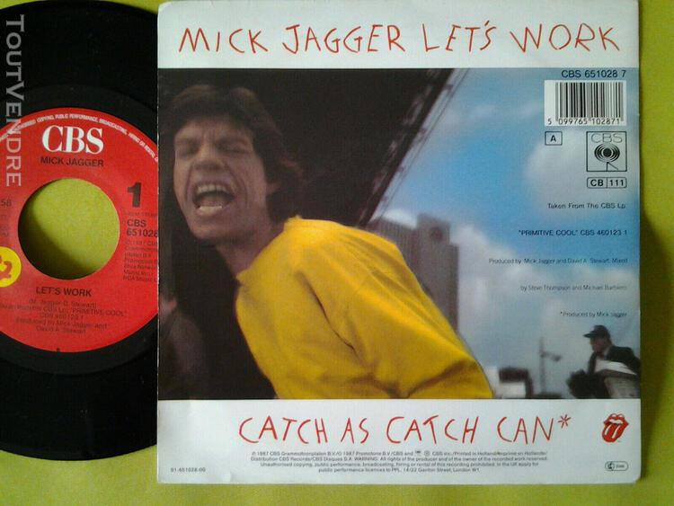"""Rolling stones 7"""" 45 tours - mick jagger let's work"""