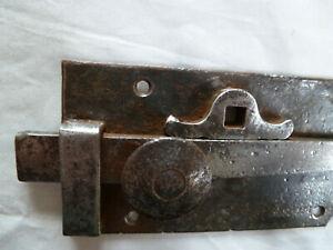 Ancien verrou targette a ressort loquet de porte fer forge