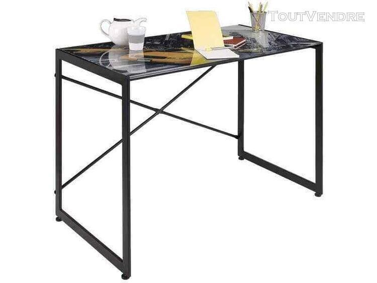 Bureau design noir verre trempé new york maison table