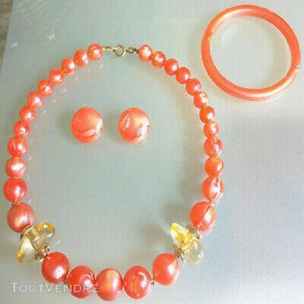 Boucles d'oreilles clips collier bracelet perles saumon nacr