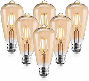 Weihao lot de 6 ampoules led vintage edison 4 w (équivalent