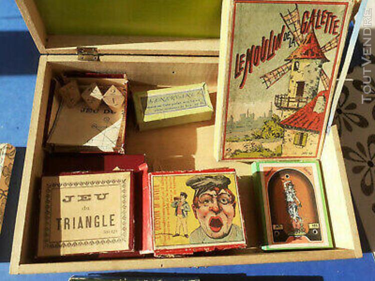 ancienne boite bois comprenant 10 jeux [jeux varies reunis]