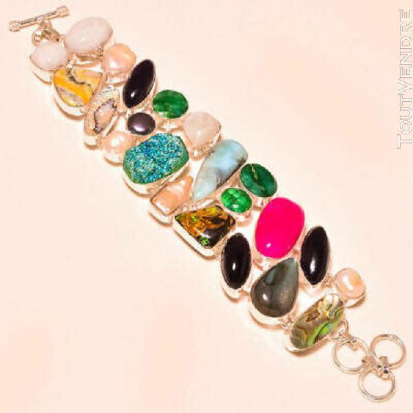 Beau bracelet en argent, pierres multicolores