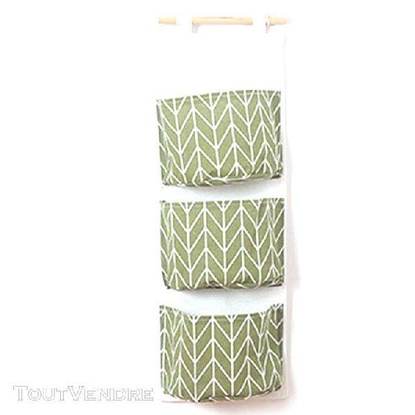 Lin coton tissu hanging sac de rangement 3 poches closet por