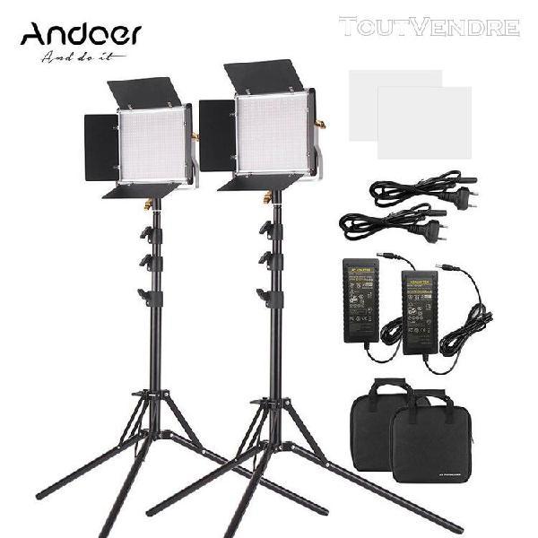 Andoer 2 packs lampe vidéo à led et 78,7 pouces kit