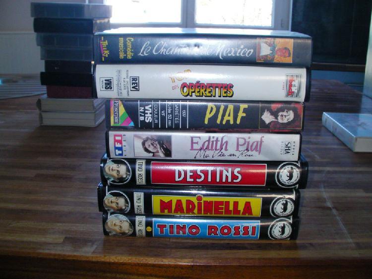 Cassettes vhs originales: edith piaf-tino rossi - operettes
