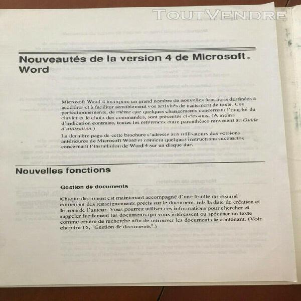 Microsoft word pour apple macintosh v4 vintage 1992 - logici
