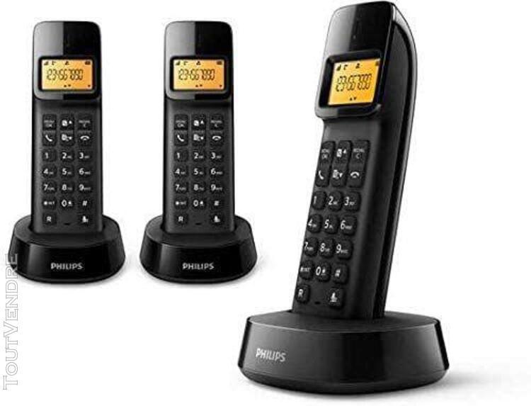 Téléphone dect avec identification de l'appelant noir