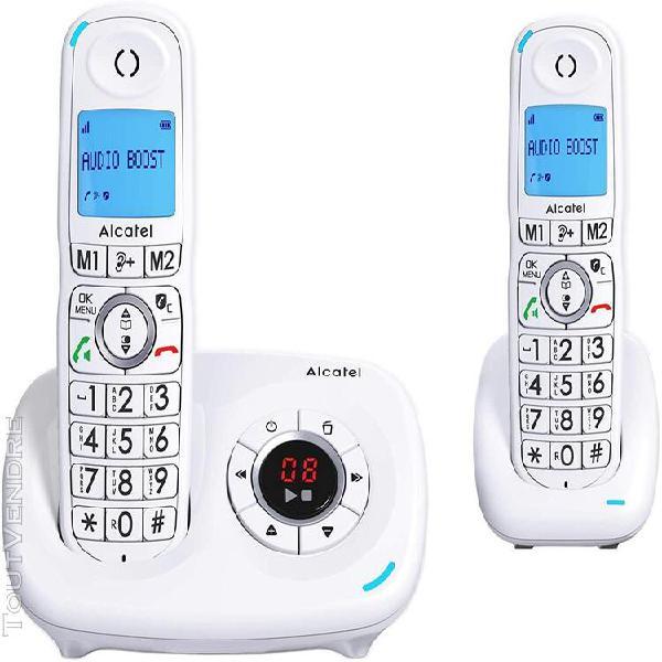 Téléphone duo sans fil avec répondeur blanc