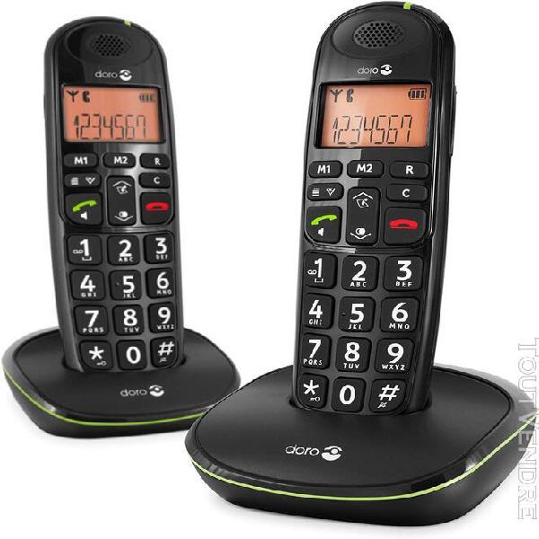 Téléphone fixe duo sans fil noir