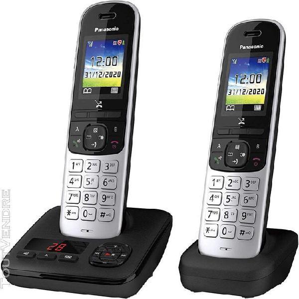 Téléphone sans fil dect avec répondeur noir gris