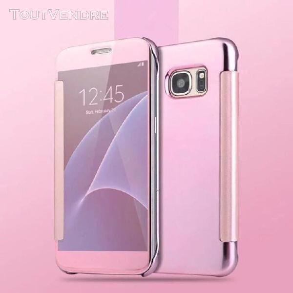 etui clear view cover pour samsung galaxy s7 rose
