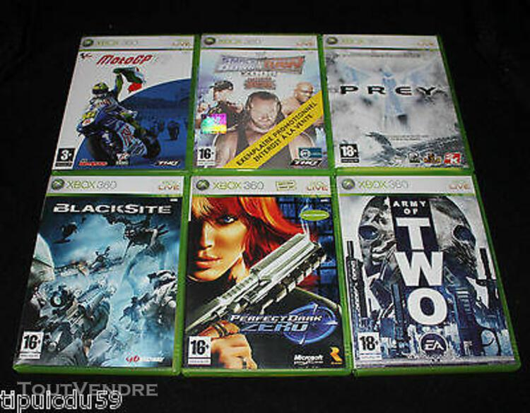 Lot de 6 jeux xbox360 (army of two,prey,moto gp 07,blacksit