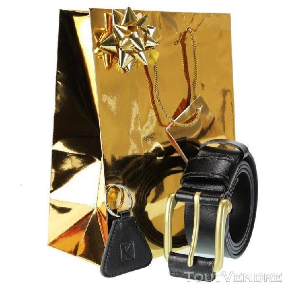 Cadeau noel homme / ceinture cuir noir taille 120 cm + porte