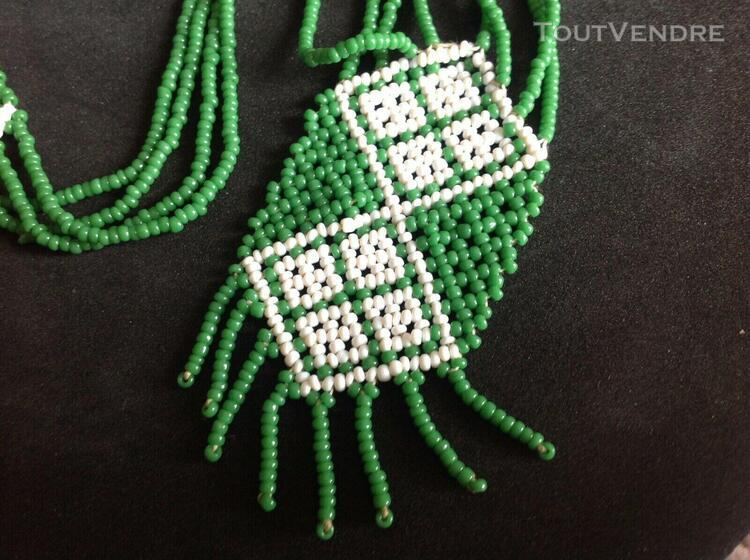 Collier perles verre indien usa native américan vintage