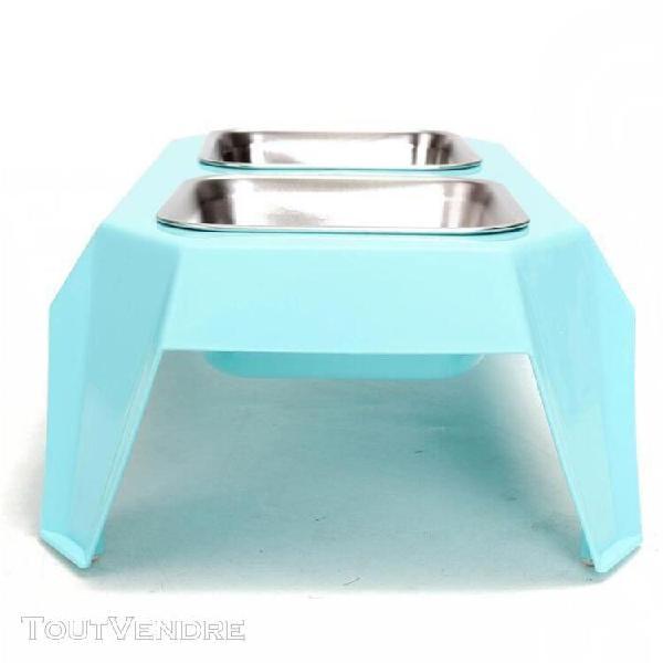 Portable gamelle double-bol pet alimentation eau chat chien