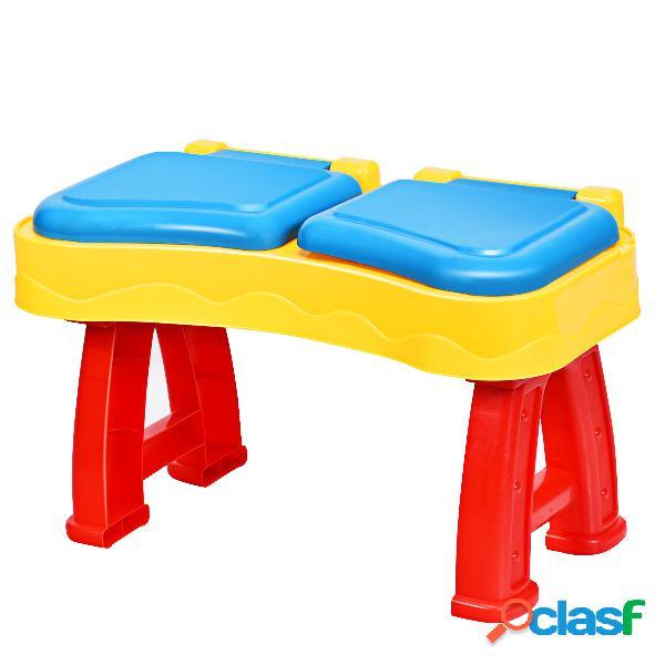 Costway table d'activité 2 en 1 table de sable et eau comprend des accessoires et des moules (31 pcs)
