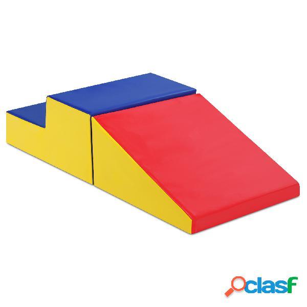 Costway 2 pcs blocs de construction en mousse pour tout-petits antidé jeu educatif pour grimper glisser ramper
