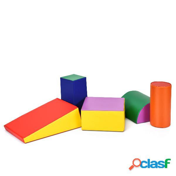 Costway blocs de construction de grands xl en mousse-5 pièces- jouets éducatifs sur logiciel avec housse pour enfants d'âge préscolaire