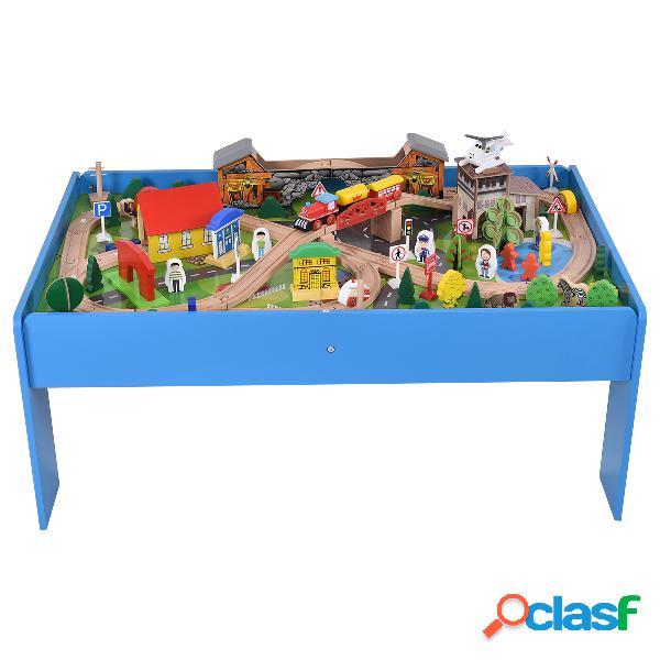 Ensemble train en bois et table circuit de train en bois table de jeux 108 pcs grande table d'activité