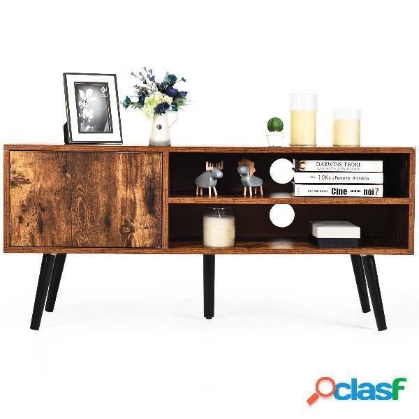 Costway meuble tv jusqu'à 42 pouces 110 x 39 5 x 50 5 cm avec 1 portes et 2 étagères marron rustique