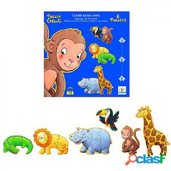 6 puzzles - ouistiti et ses amis djeco