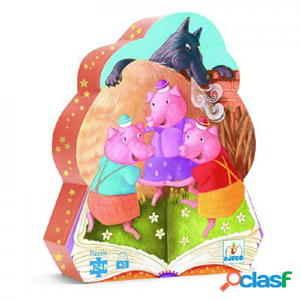 Puzzle silhouette - 24 pièces - les trois petits cochons djeco