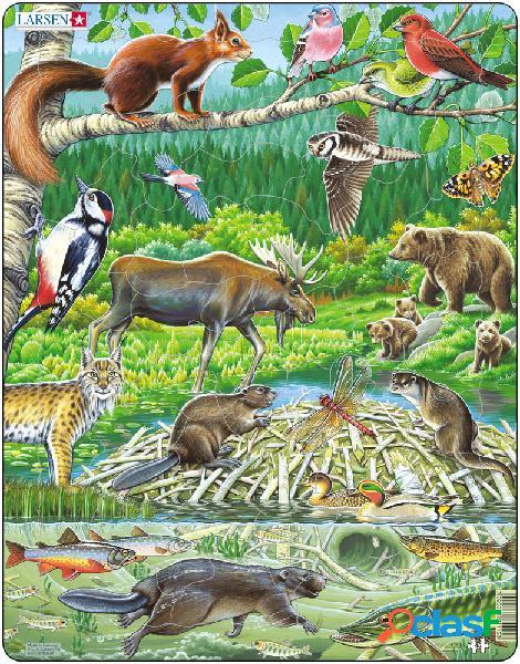 Puzzle cadre - les animaux de la forêt nordique larsen
