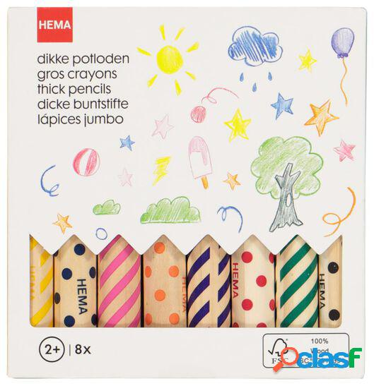 Hema 8 gros crayons de couleur
