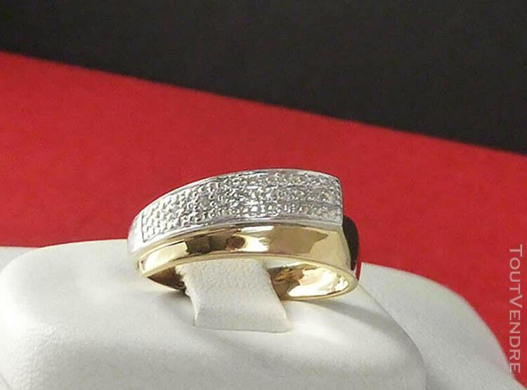Bague bandeau or jaune & gris 18ct et diamants