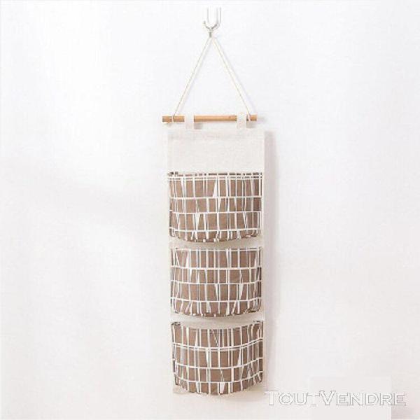 Coton lin multi-couche de stockage hanging sac de rangement