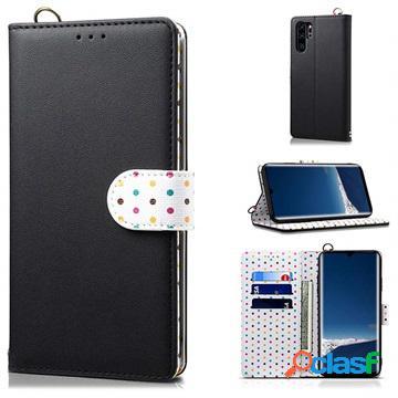 Retro polka dot huawei p30 pro wallet case - black