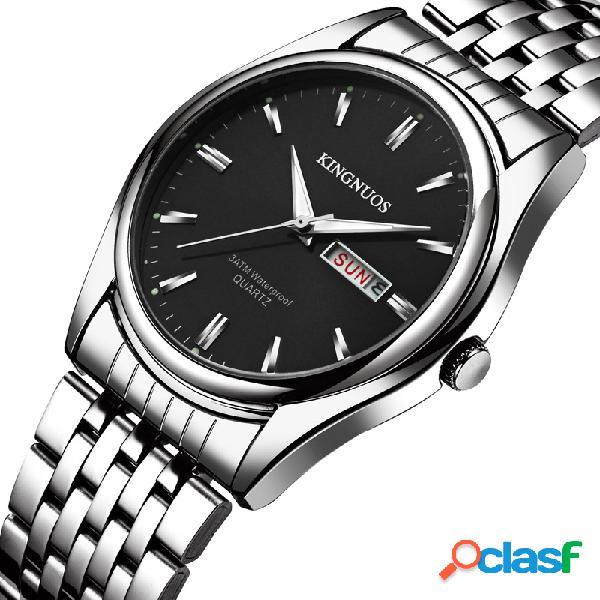 Classique hommes argent montres affaires lumineux date acier inoxydable 30m étanche quartz montres