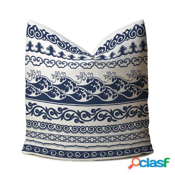 Classique de style chinois bleu et blanc imprimé lin housse de coussin maison canapé art décor throw taie d'oreiller