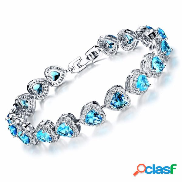 Classique platinum coeur zircone bracelet fine jewelry cadeau pour elle