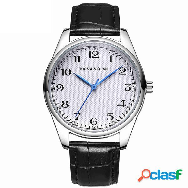 Classique hommes en cuir bande montres de luxe grand nombre bleu main imperméable à l'eau minimaliste montres pour hommes