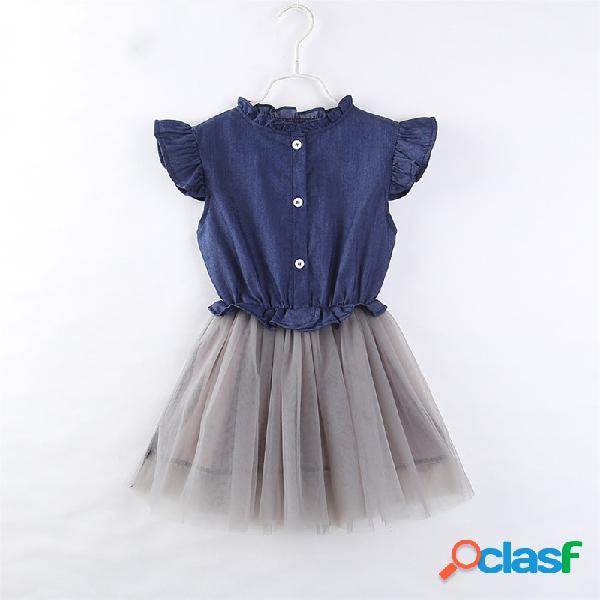 Denim mesh toddlers girls kids robes de princesse patchwork sans manches