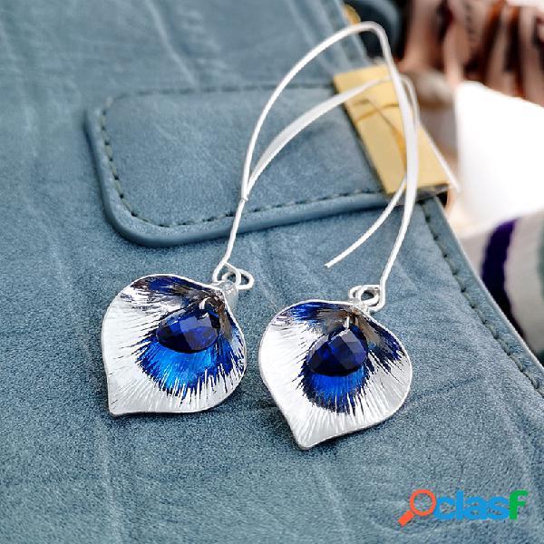 Boucles d'oreilles pendantes en cristal plaqué argent 925