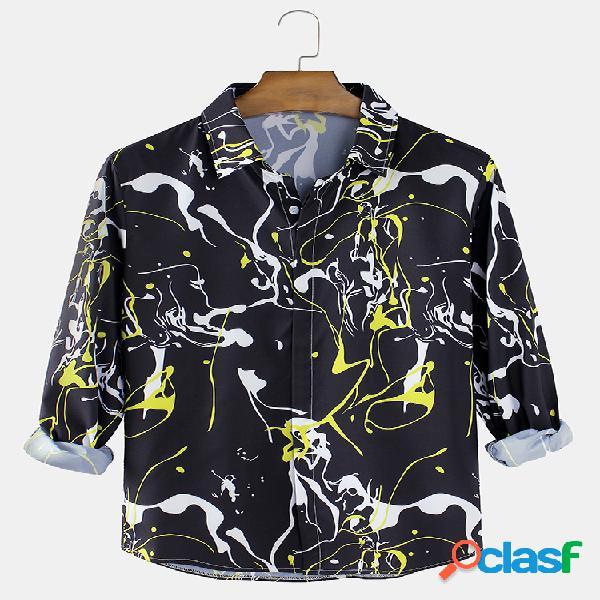 Chemises courbées à manches longues à col revers imprimé graffiti pour homme en noir