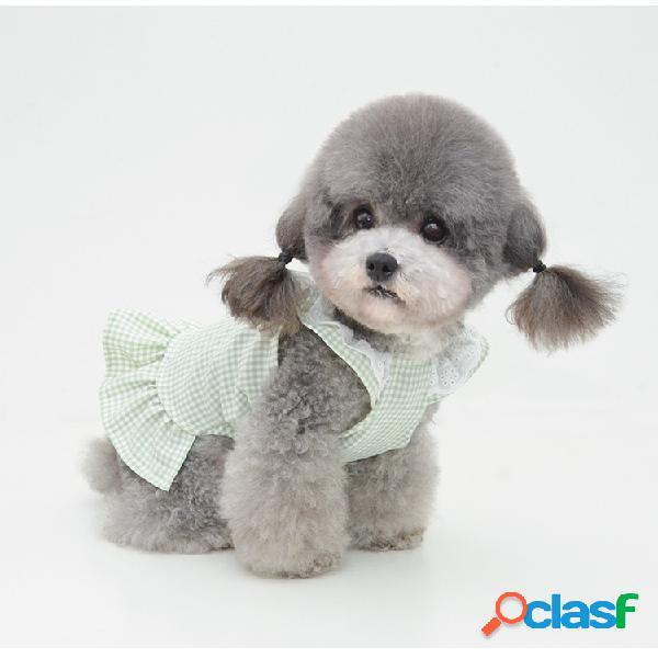 Motif à carreaux jupe pour animaux de compagnie jupe à volants chemise printemps et été chiot chien chat vêtements