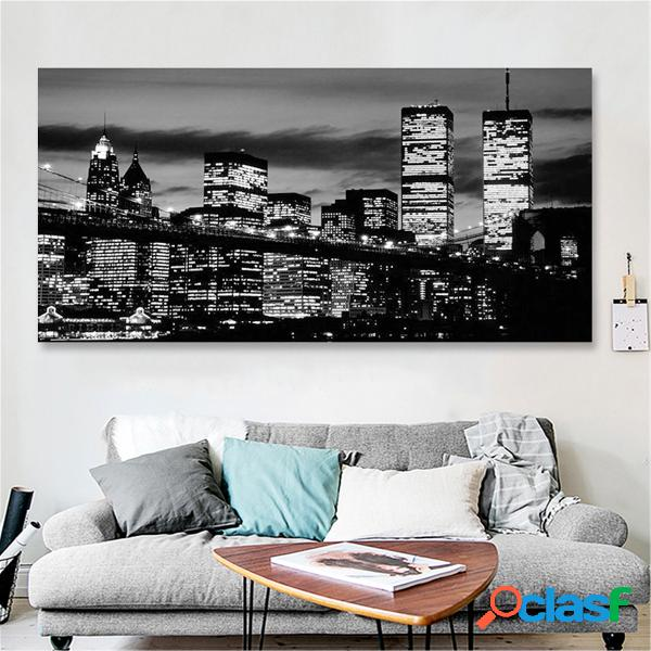 New york city noir blanc 61 cm x 31 cm canvas wall art manhattan skyline