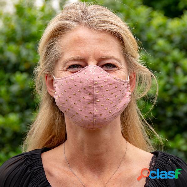 Masque de protection en tissu adulte rose et cubes dorés