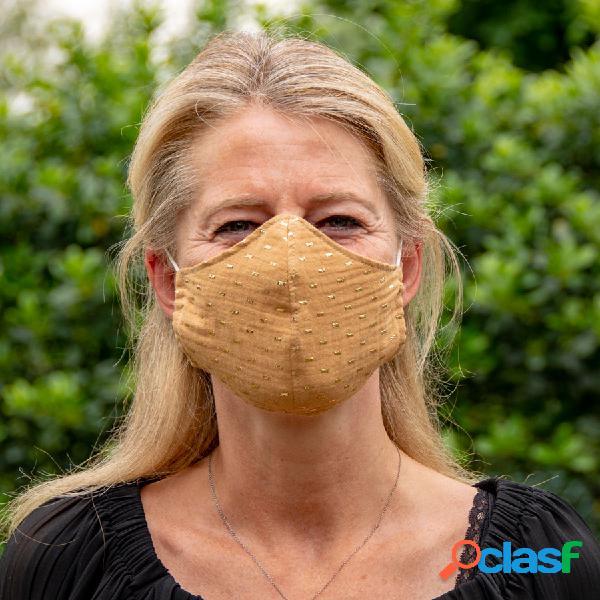 Masque de protection en tissu adulte camel et cubes dorés