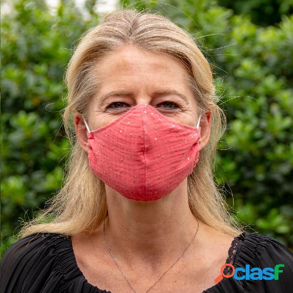 Masque de protection en tissu adulte corail et pois dorés